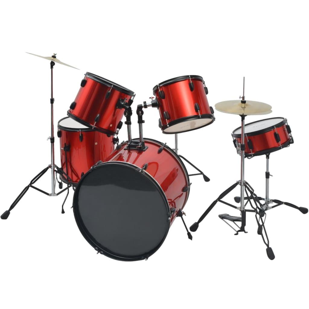 Afbeelding van vidaXL Complete drumstel gepoedercoat staal rood volwassene