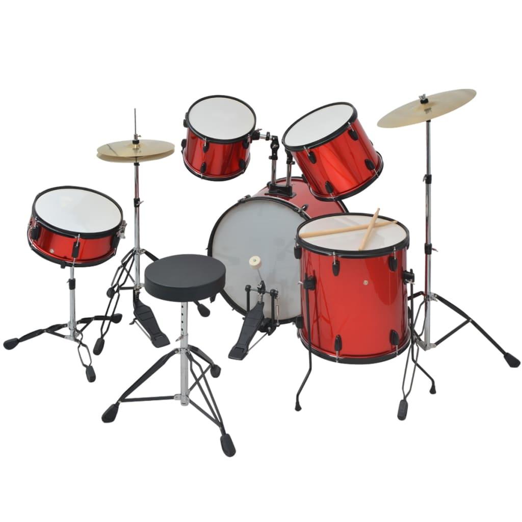 9970054 Schlagzeug Komplettset Pulverbeschichteter Stahl Rot Erwachsene