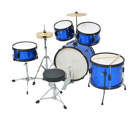 vidaXL Complete Drum Kit Powder-coated Steel Blue Junior[2/8]