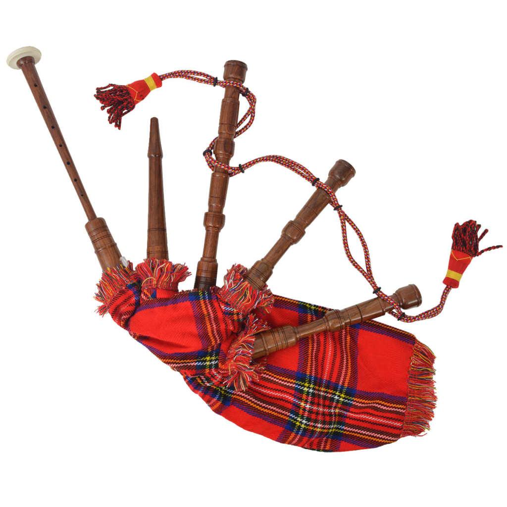 Dětské skotské horalské dudy červený tartan Royal Stewart