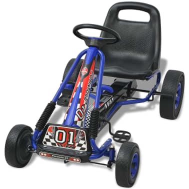 vidaXL Mașină Go Kart cu scaun reglabil, albastru[3/6]