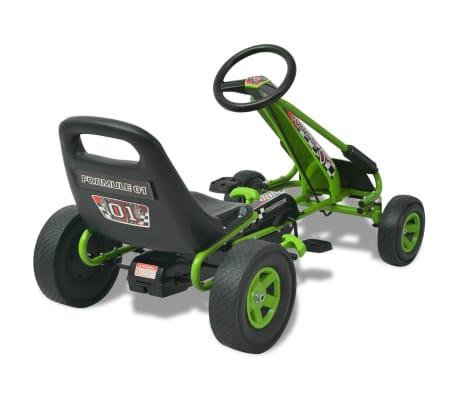 vidaX Kart cu pedale cu șezut reglabil verde[4/6]