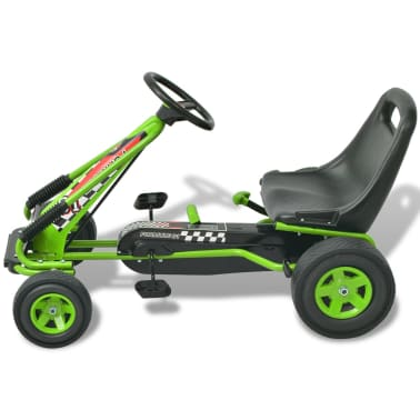 vidaXL Pedal Go Kart with Adjustable Seat Green[2/6]