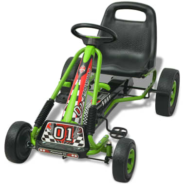 vidaXL Pedal Go Kart with Adjustable Seat Green[3/6]