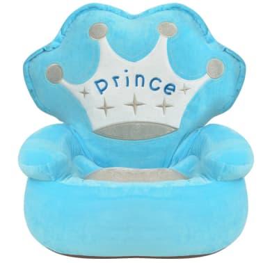 vidaXL Pliušinė vaikiška kėdė Prince, mėlyna[2/3]