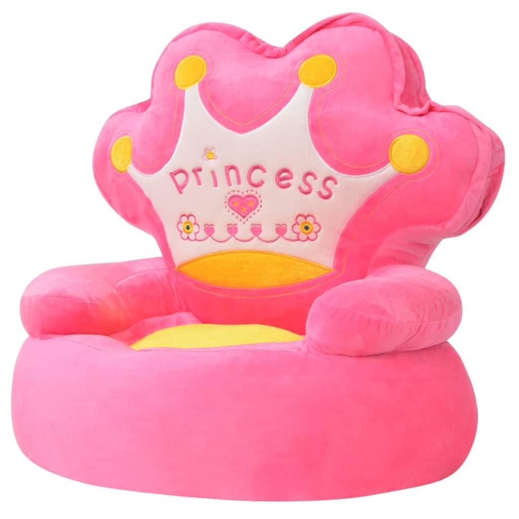 vidaXL Plyšové dětské křeslo Princess růžové