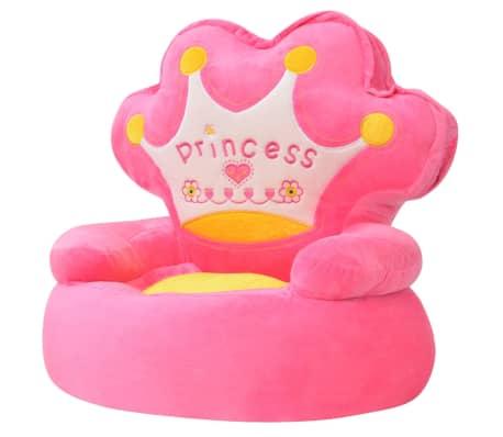 vidaXL Pliušinė vaikiška kėdė Princess, rožinė[1/3]