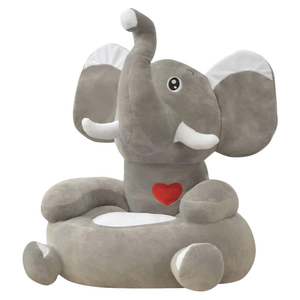 vidaXL Plyšové dětské křeslo slon šedý