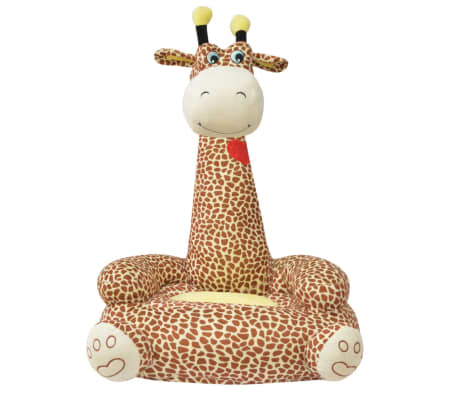vidaXL Barnstol i plysch giraff brun[2/3]