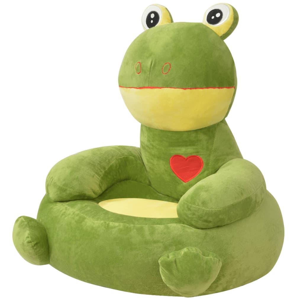vidaXL Scaun pentru copii în formă de broască din pluș verde imagine vidaxl.ro