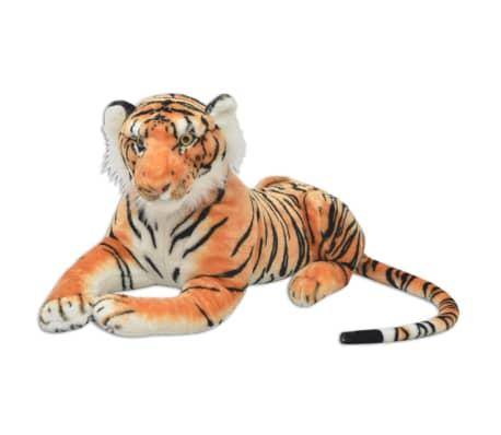 vidaXL Плюшена детска играчка-тигър, кафява, XXL
