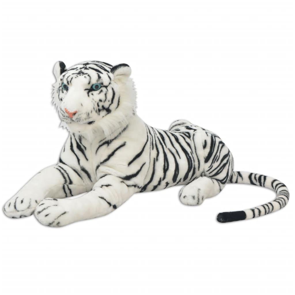 vidaXL Tigru de jucărie din pluș, XXL, alb vidaxl.ro