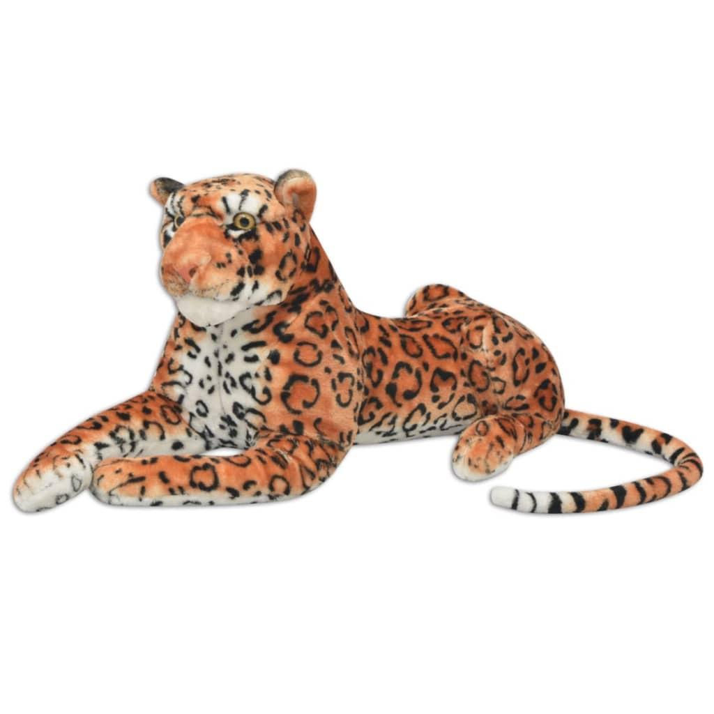 vidaXL Leopard plyšová hračka hnědý XXL
