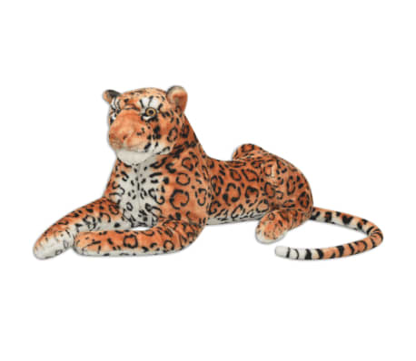 vidaXL Плюшена детска играчка-леопард, кафява, XXL
