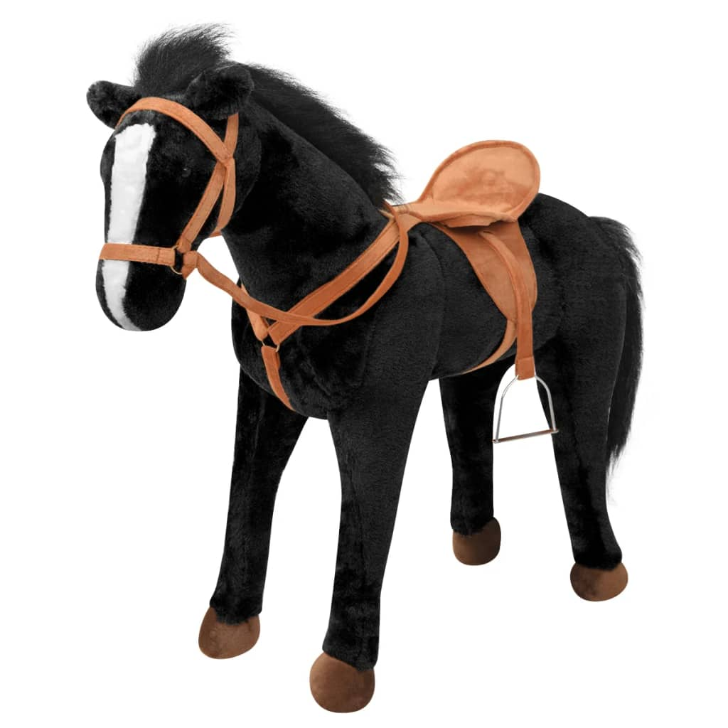 vidaXL Stojící hračka kůň plyšový černý XXL