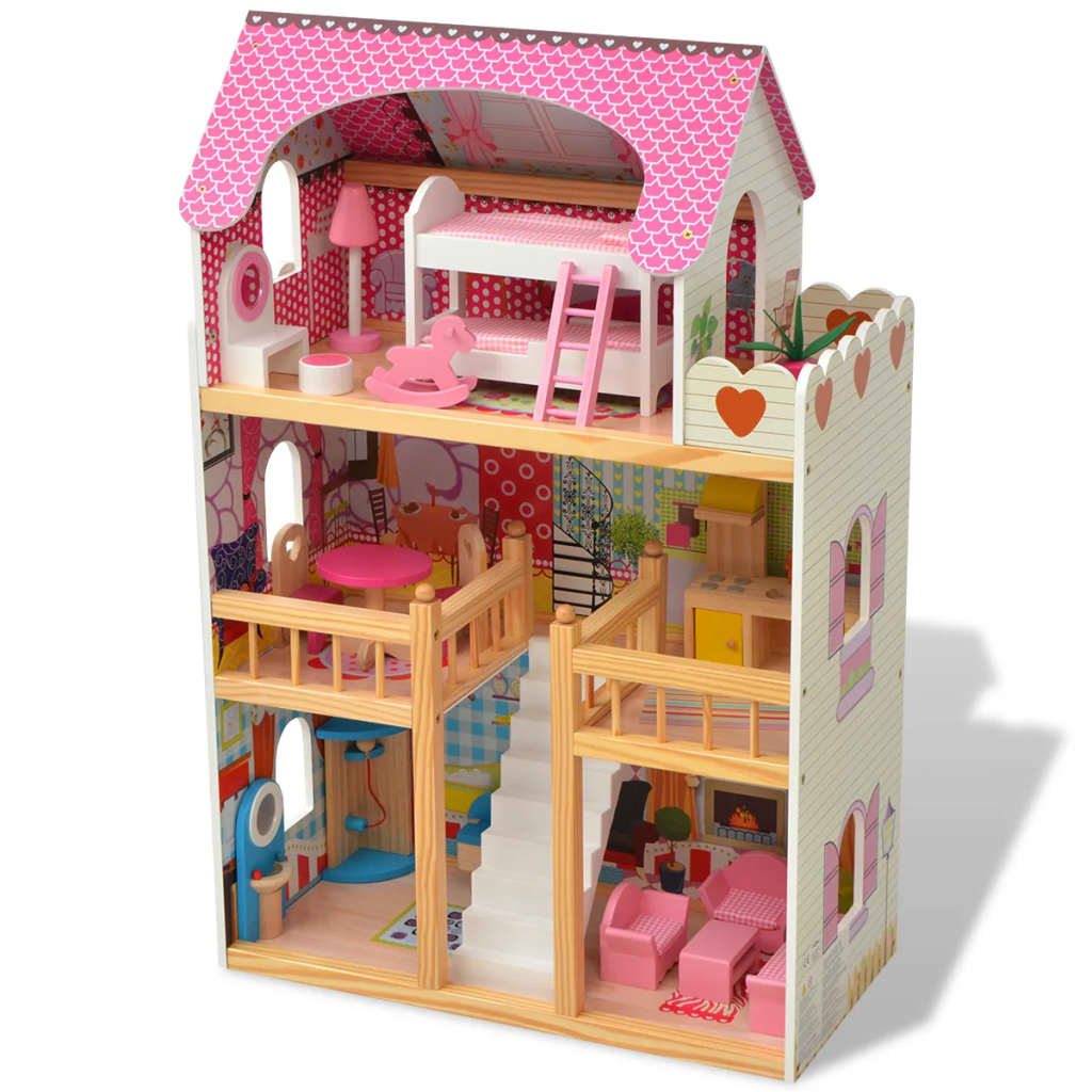 Třípatrový domeček pro panenky dřevěný 60 x 30 x 90 cm
