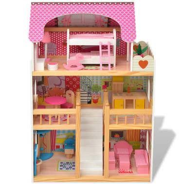 vidaXL Maison de poupées à trois étages Bois 60 x 30 x 90 cm[2/9]