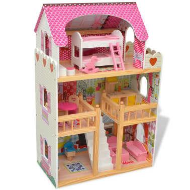 vidaXL Maison de poupées à trois étages Bois 60 x 30 x 90 cm[3/9]