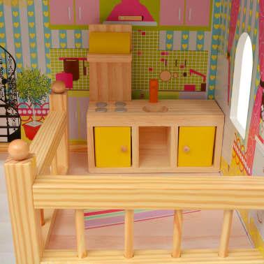 vidaXL Maison de poupées à trois étages Bois 60 x 30 x 90 cm[6/9]