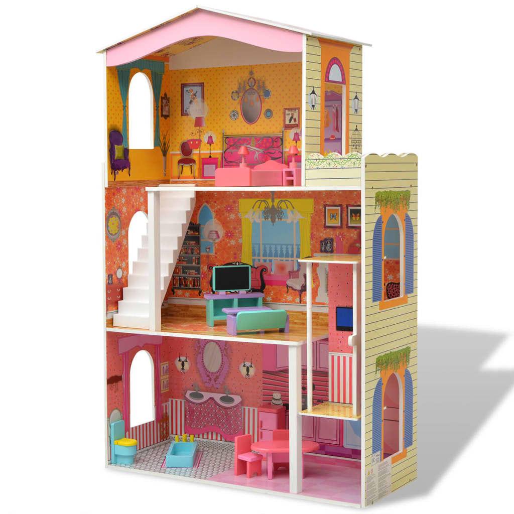vidaXL Třípatrový domeček pro panenky dřevěný 73x32x116 cm