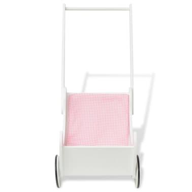 vidaXL Vežimėlis lėlėms, medinis, 53x25,7x50 cm, baltas[2/6]
