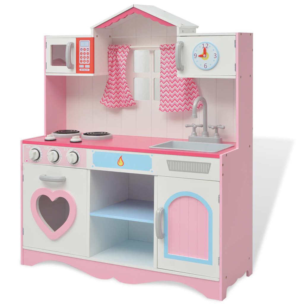 vidaXL Bucătărie de jucărie din lemn 82 x 30 x 100 cm, roz și alb vidaxl.ro