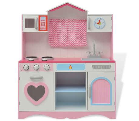 vidaXL Κουζίνα Παιδική Ροζ και Λευκή 82 x 30 x 100 εκ. Ξύλινη[2/7]