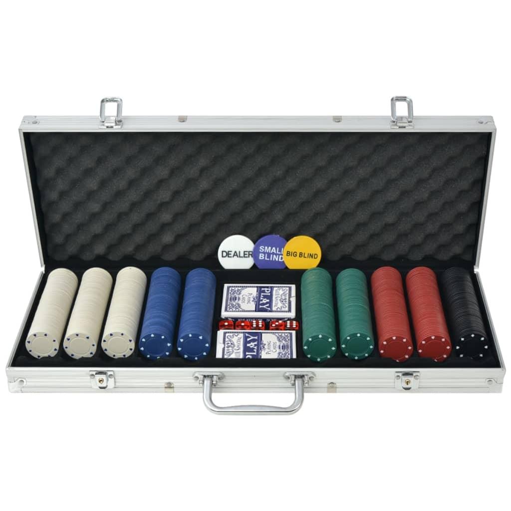 vidaXL Set de poker cu 500 de jetoane din aluminiu poza vidaxl.ro