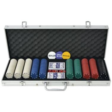 vidaXL Jeu de poker avec 500 jetons Aluminium[1/5]