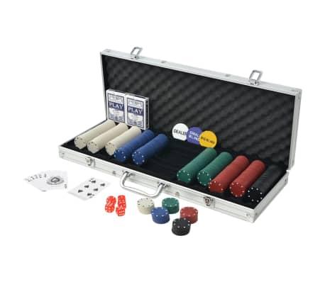 vidaXL Jeu de poker avec 500 jetons Aluminium[2/5]