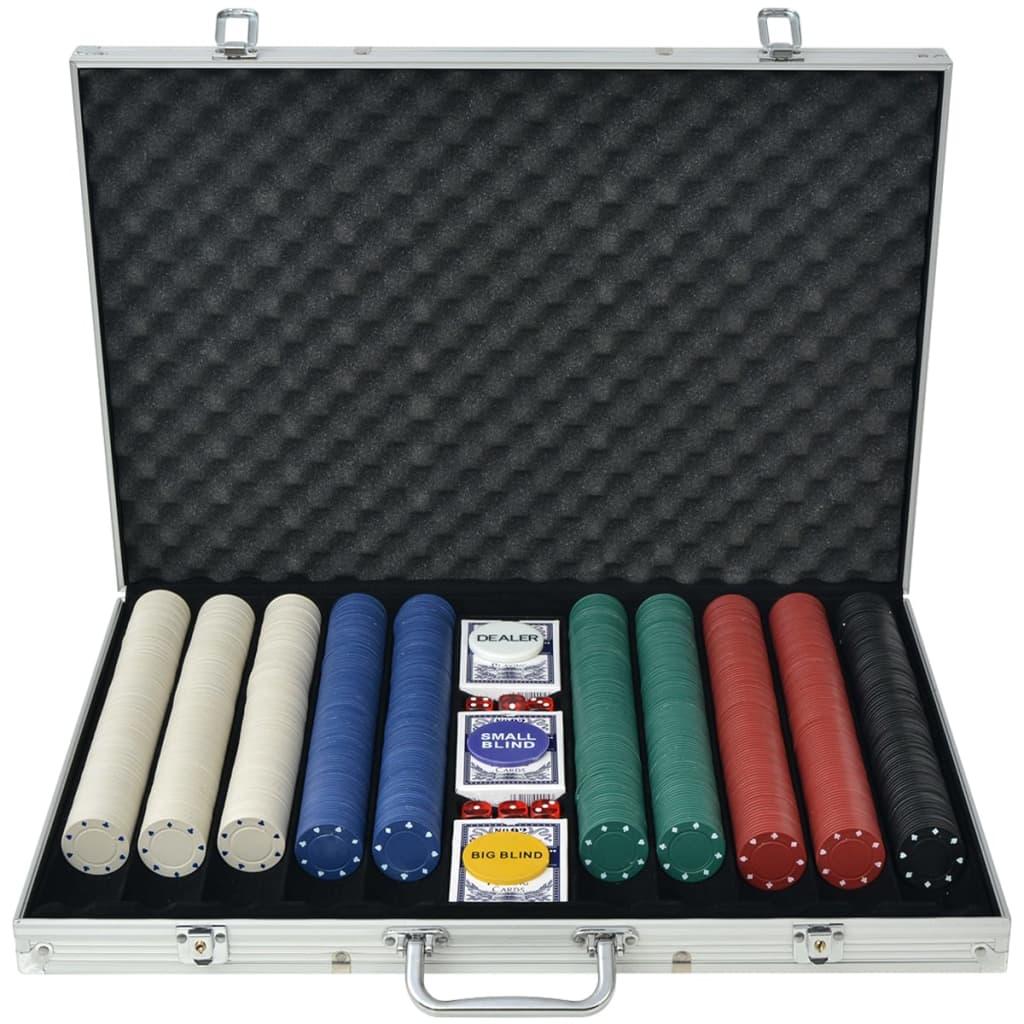 vidaXL Poker set s 1000 žetony hliník