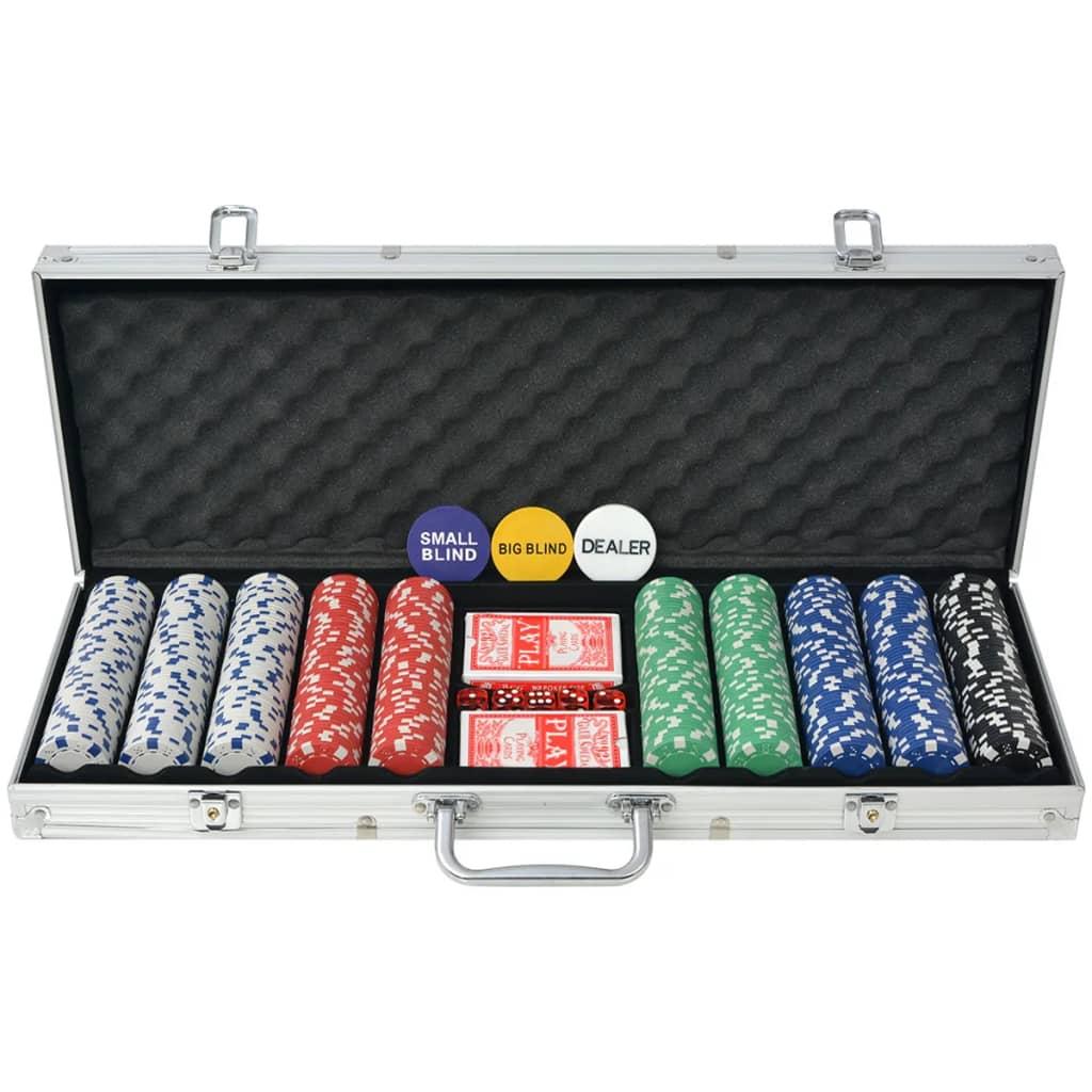 vidaXL Set de poker cu 500 de jetoane din aluminiu imagine vidaxl.ro