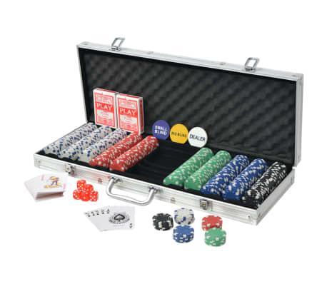 vidaXL Pokerset med 500 marker aluminium[2/5]
