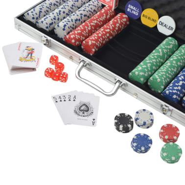 vidaXL Pokerset med 500 marker aluminium[3/5]