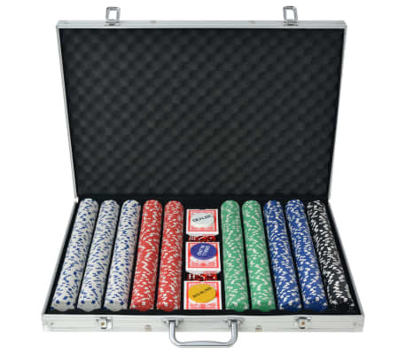 vidaXL Poker Set with 1000 Chips Aluminium