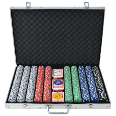 vidaXL Pokerset med 1000 marker aluminium[1/5]