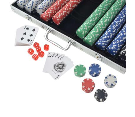vidaXL Pokerset med 1000 marker aluminium[3/5]