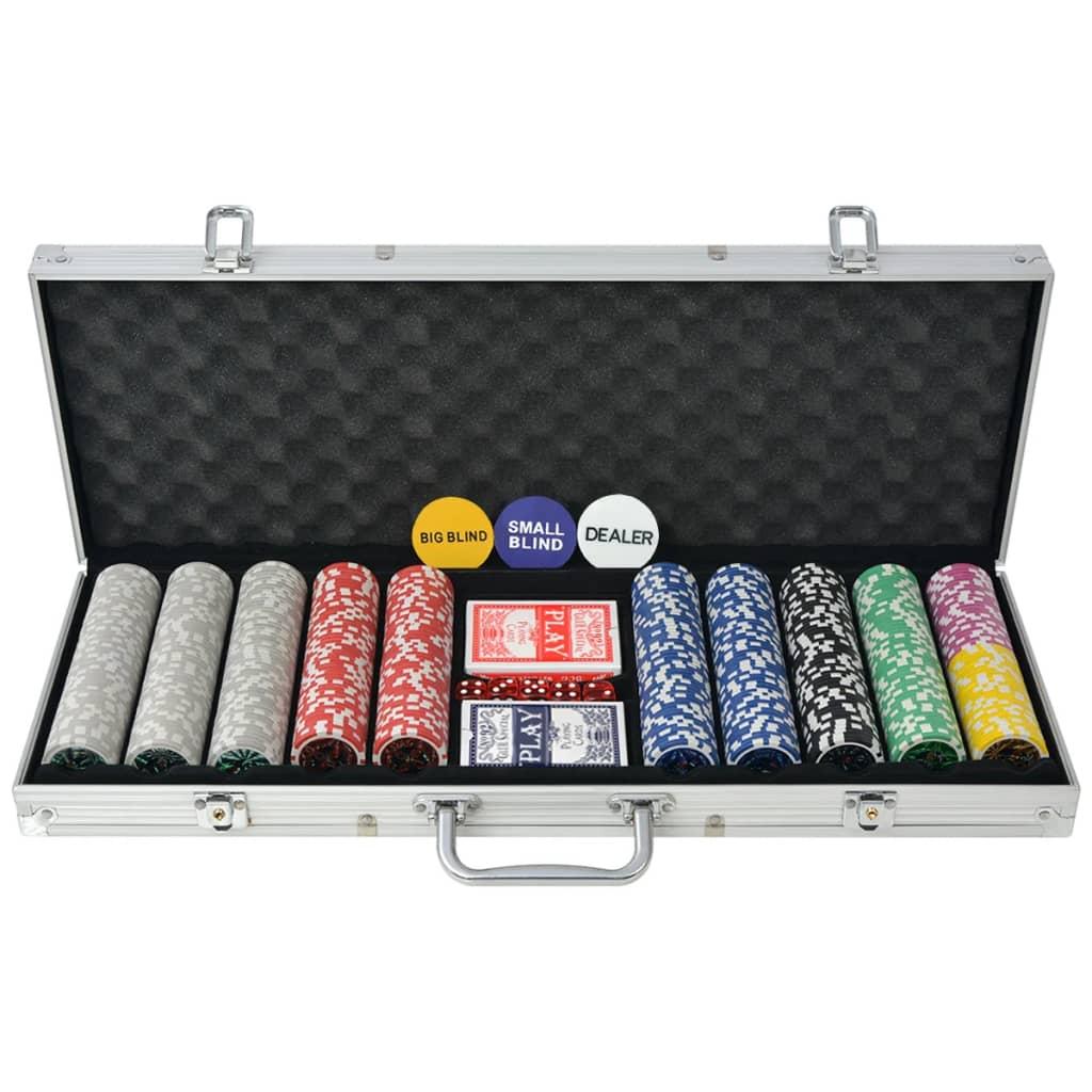 vidaXL Poker set s 500 laserovými žetony z hliníku