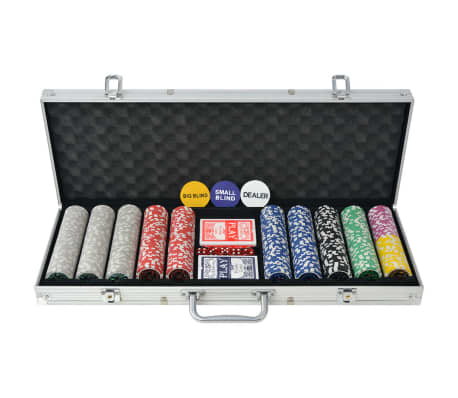 vidaXL Poker Set s 500 Laserskimi Žetoni Aluminij[1/5]