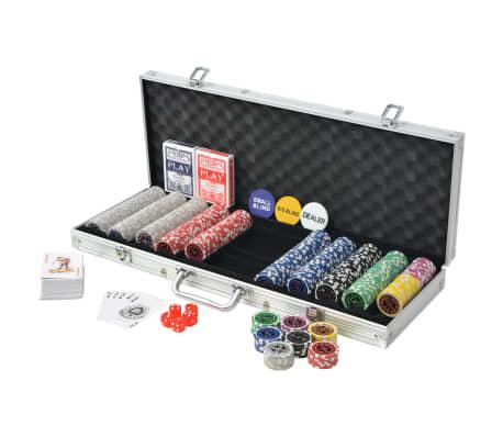 vidaXL Poker Set s 500 Laserskimi Žetoni Aluminij[2/5]