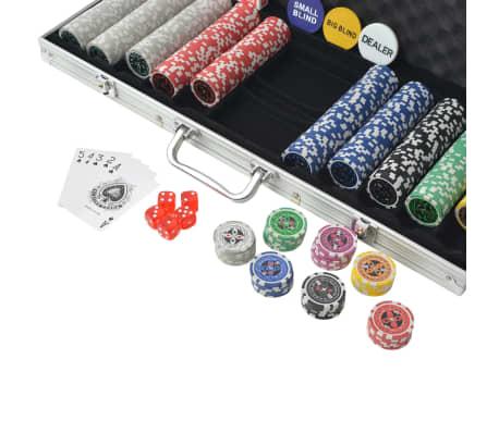 vidaXL Set de poker cu 500 de jetoane cu laser din aluminiu[3/5]