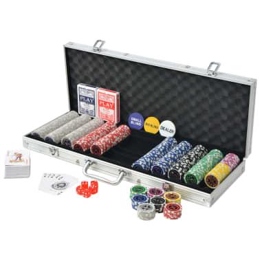 vidaXL Set de poker cu 500 de jetoane cu laser din aluminiu[2/5]