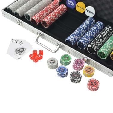 vidaXL Poker Set s 500 Laserskimi Žetoni Aluminij[3/5]