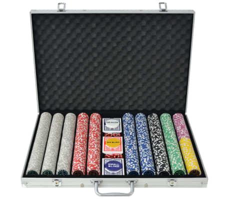 vidaXL Set de poker cu 1000 de jetoane cu laser din aluminiu[1/5]