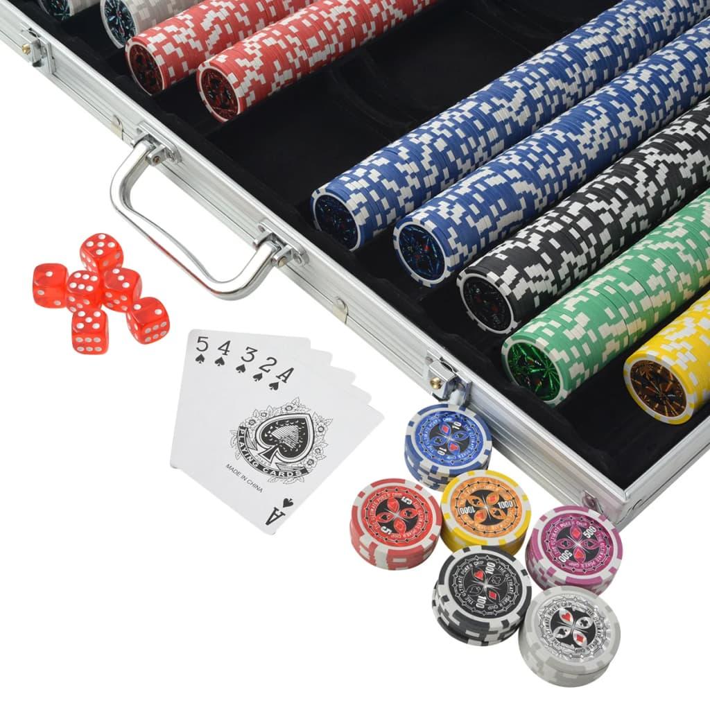 Pokerset met 1000 laser chips aluminium