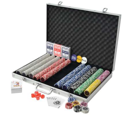 vidaXL Set de poker cu 1000 de jetoane cu laser din aluminiu[2/5]