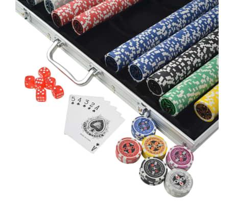vidaXL Set de poker cu 1000 de jetoane cu laser din aluminiu[3/5]