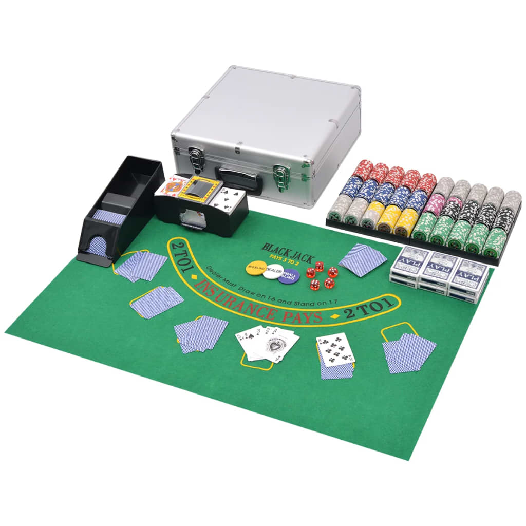 vidaXL Kombinovaný set poker/blackjack s 600 laserovými žetony hliník
