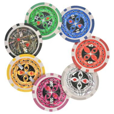 vidaXL Pokerio/Blackjack rinkinys su 600 žetonais su vertėmis, aliuminis[5/7]