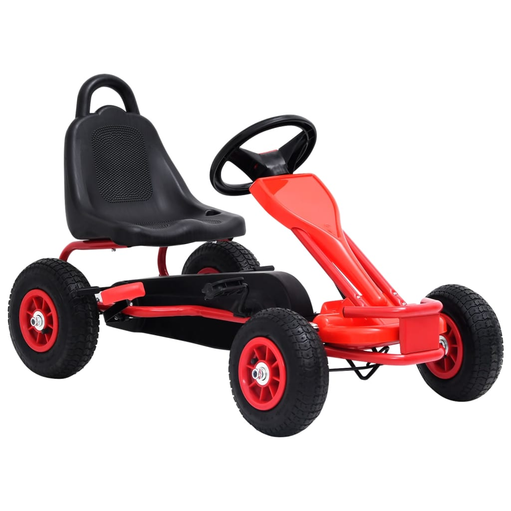 vidaXL Mașinuță kart cu pedale și roți pneumatice, roșu poza 2021 vidaXL